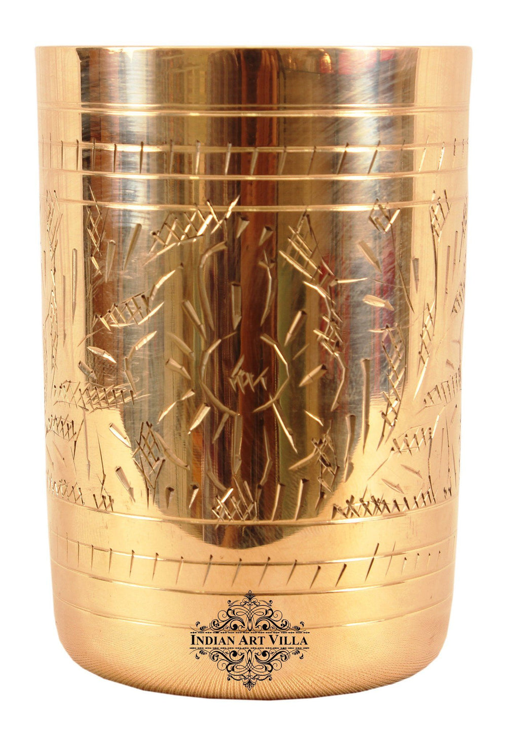 Brass Handmade Design Glass 10 Oz Brass Tumblers Indian Art Villa