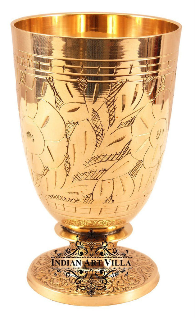 Brass Handmade Designer Glass 11 Oz Brass Tumblers Indian Art Villa