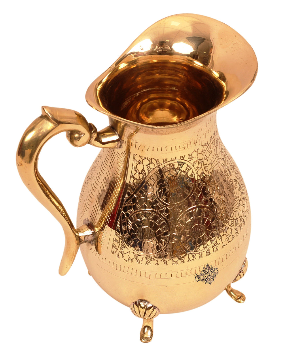 Brass Handmade Designer Jug with 4 legs 1750 ML Brass Jugs BR-1