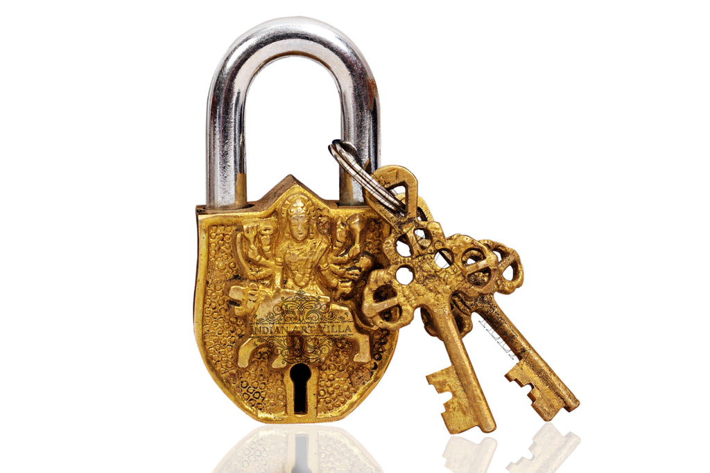 Brass Handmade Durga Mata Design Lock With 2 Keys