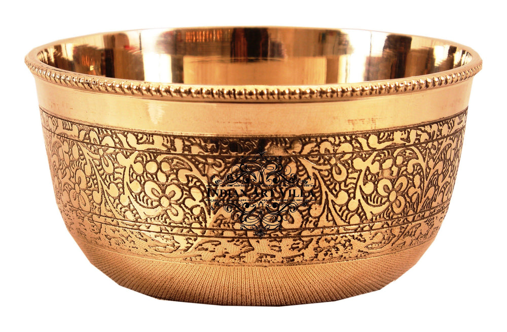 Brass Handmade Embossed Design Bowl 250 ML Brass Bowls BR-1