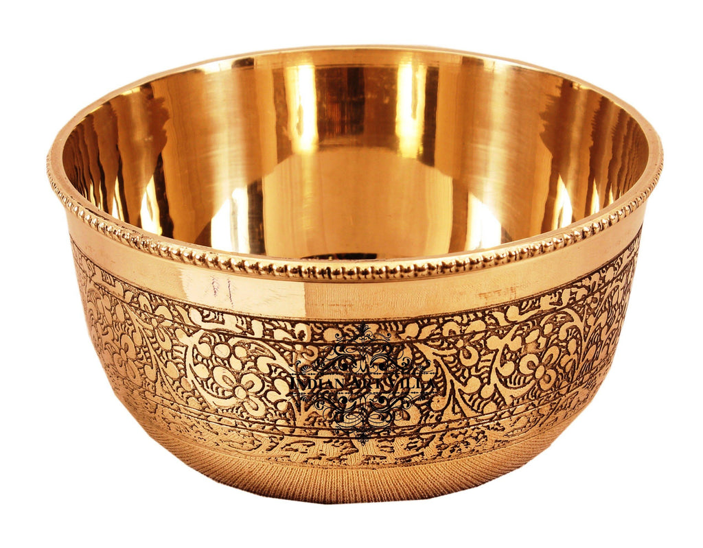 Brass Handmade Embossed Design Bowl 250 ML