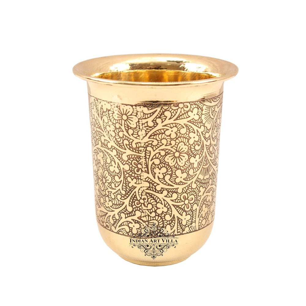 Brass Handmade Embossed Design Curved Glass Tumbler 280 ML