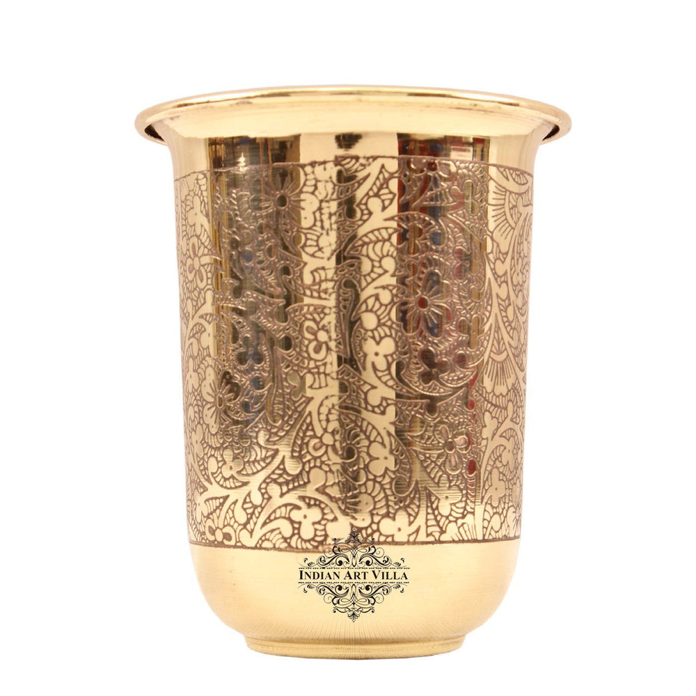 Brass Handmade Embossed Design Curved Glass Tumbler 280 ML Brass Tumblers BR-6