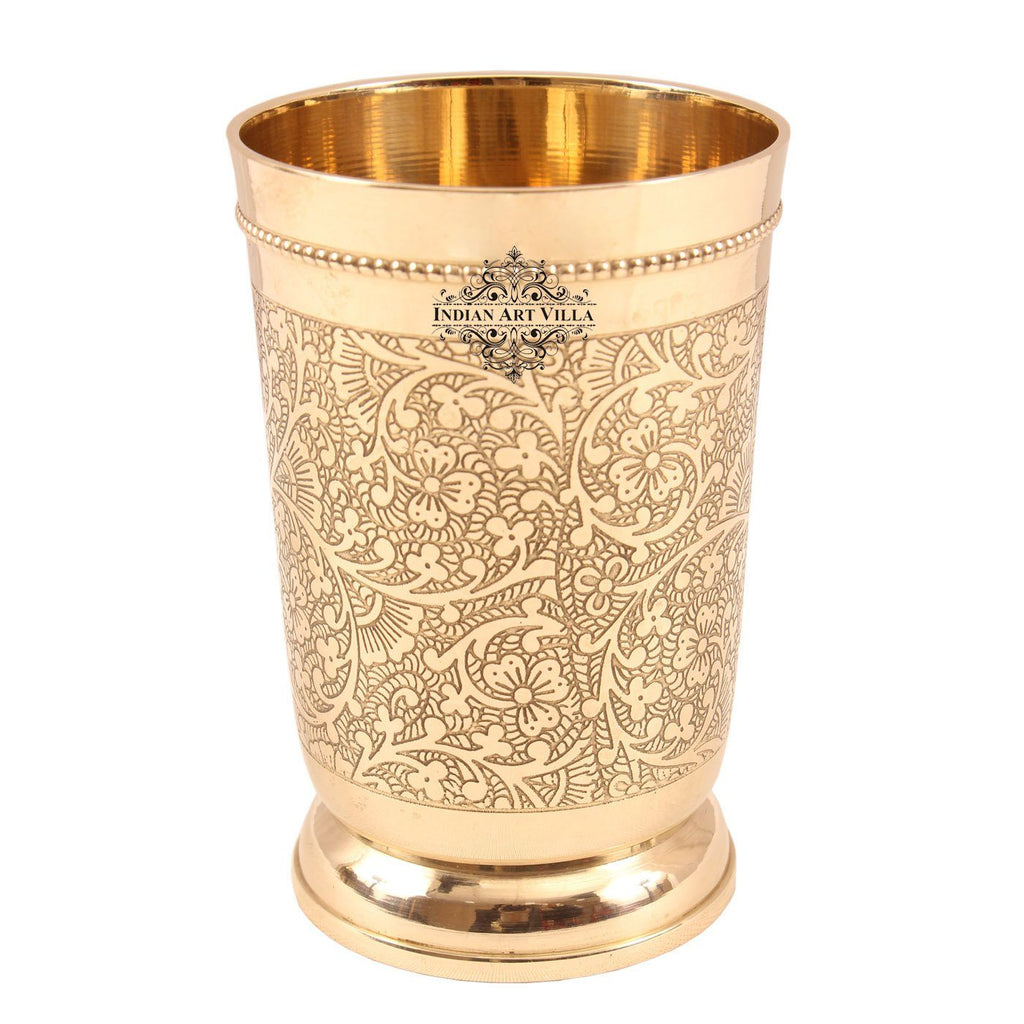 Brass Embossed Design Glass Tumbler Cup with Bottom 330 ML