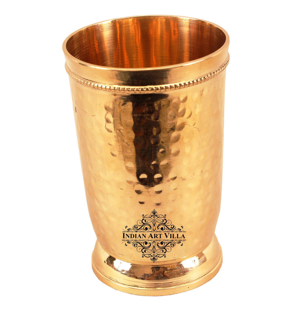 Brass Handmade Hammered Design Glass Tumbler 300 ML