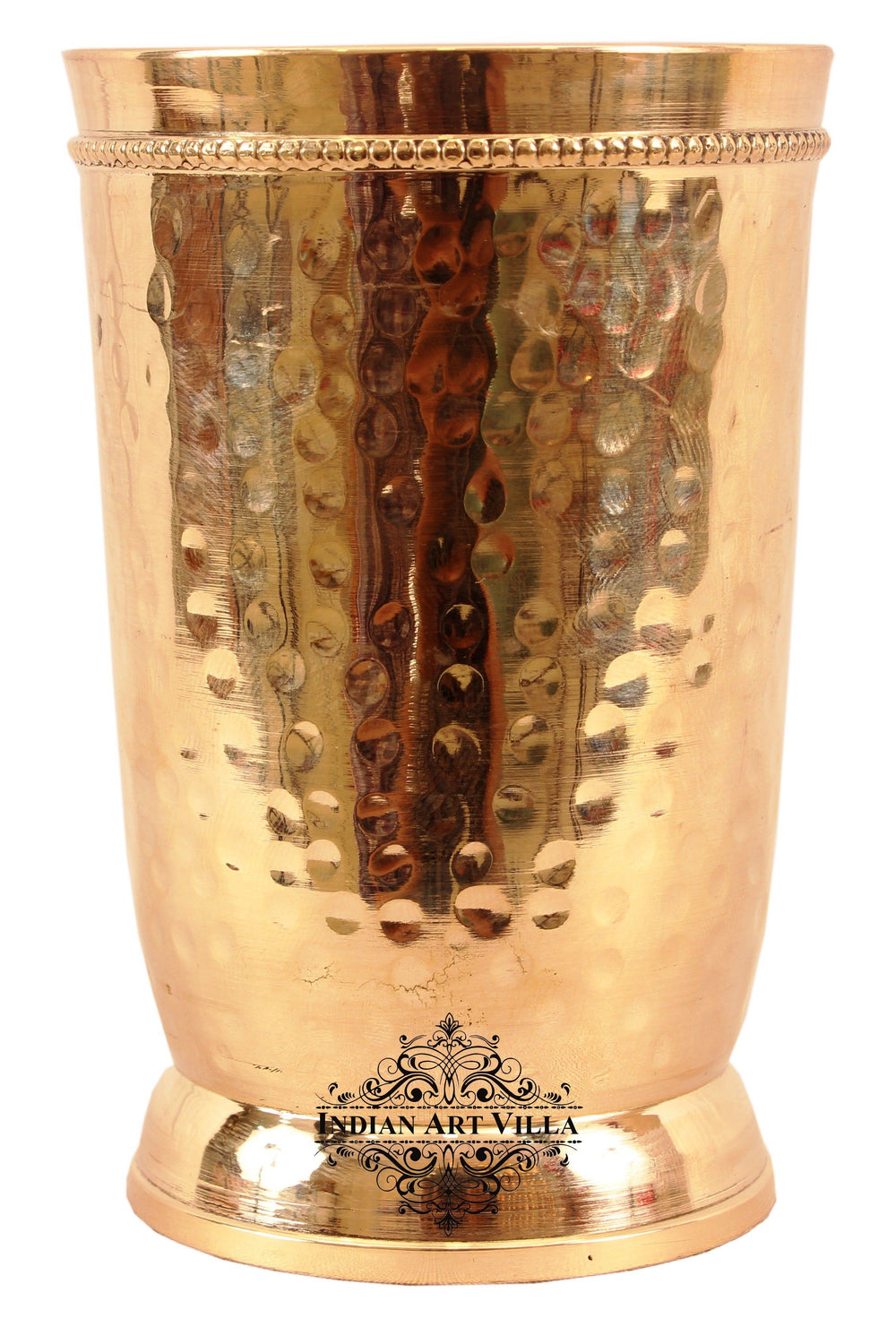 Brass Handmade Hammered Design Glass Tumbler 300 ML Brass Tumblers BR-1