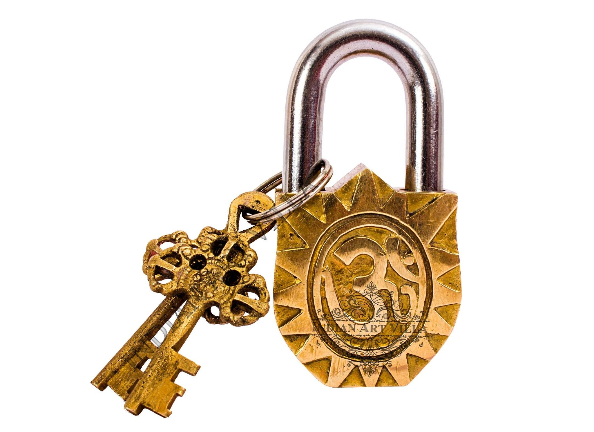 Brass Handmade Laxmi Mata Design Lock With 2 Keys