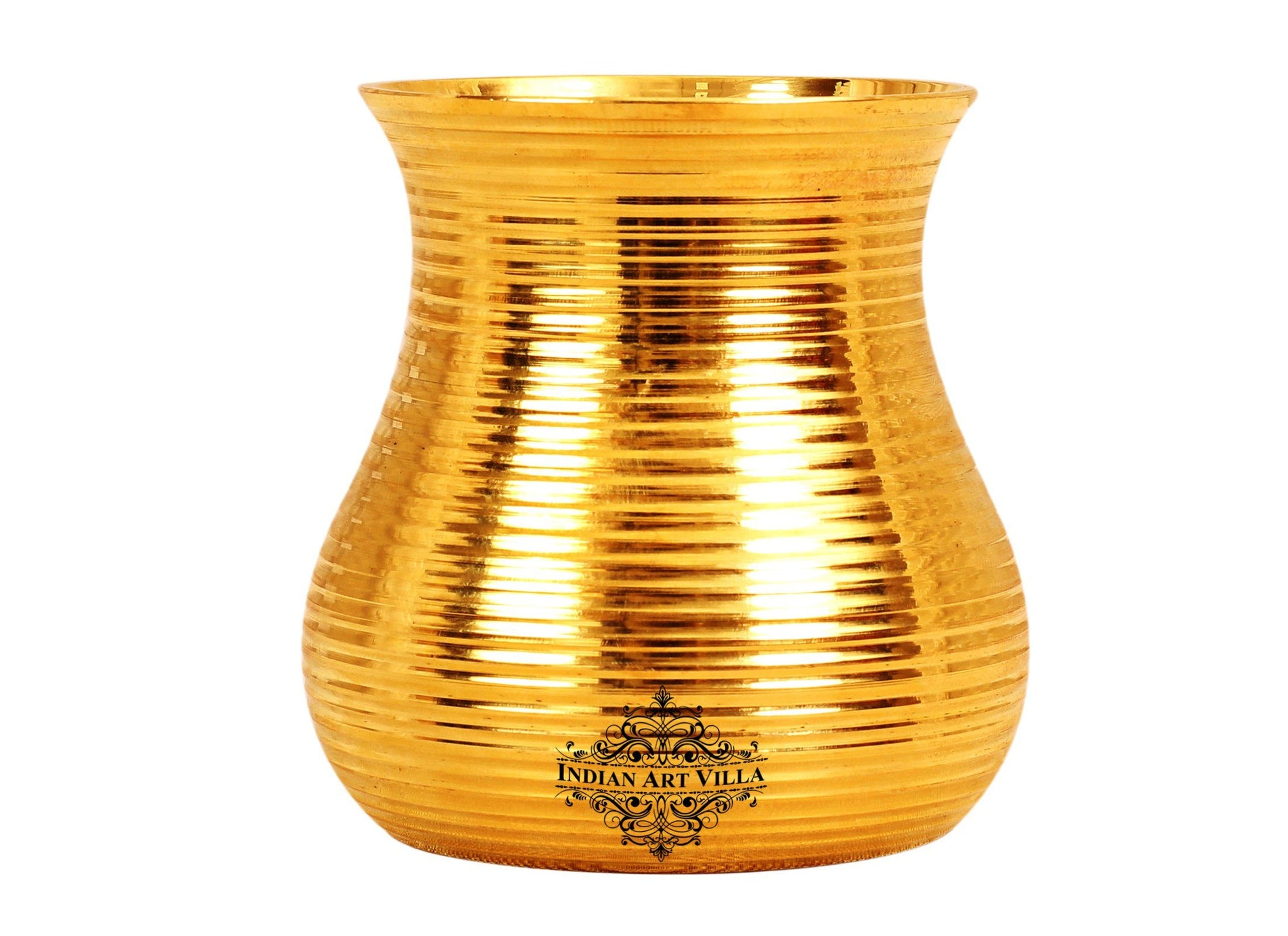 Brass Handmade Lining Design Glass Tumbler Cup,Serving Drinking Water, 350 ML