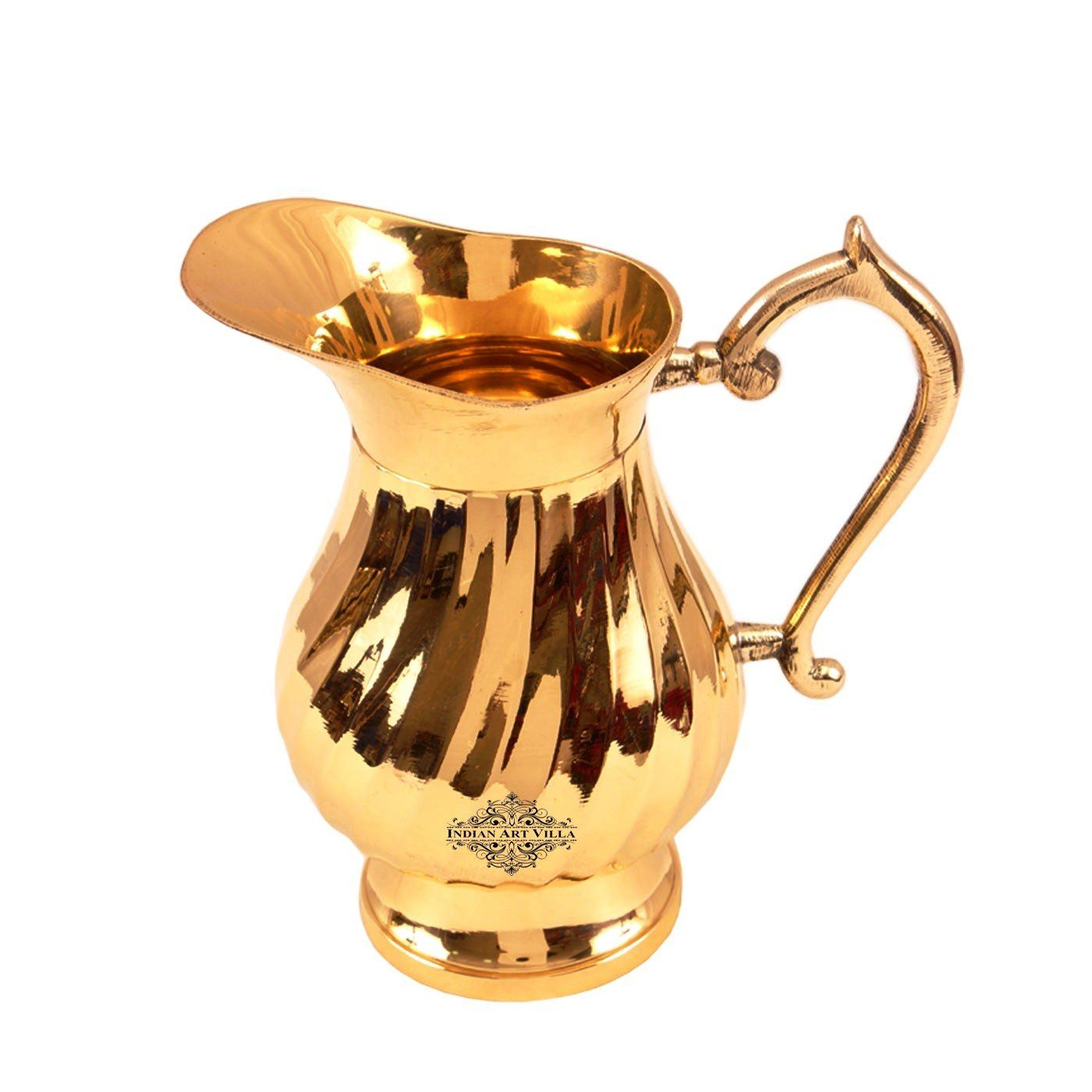 Brass Handmade Lining Design Jug Pitcher Serving Water 1000 ML