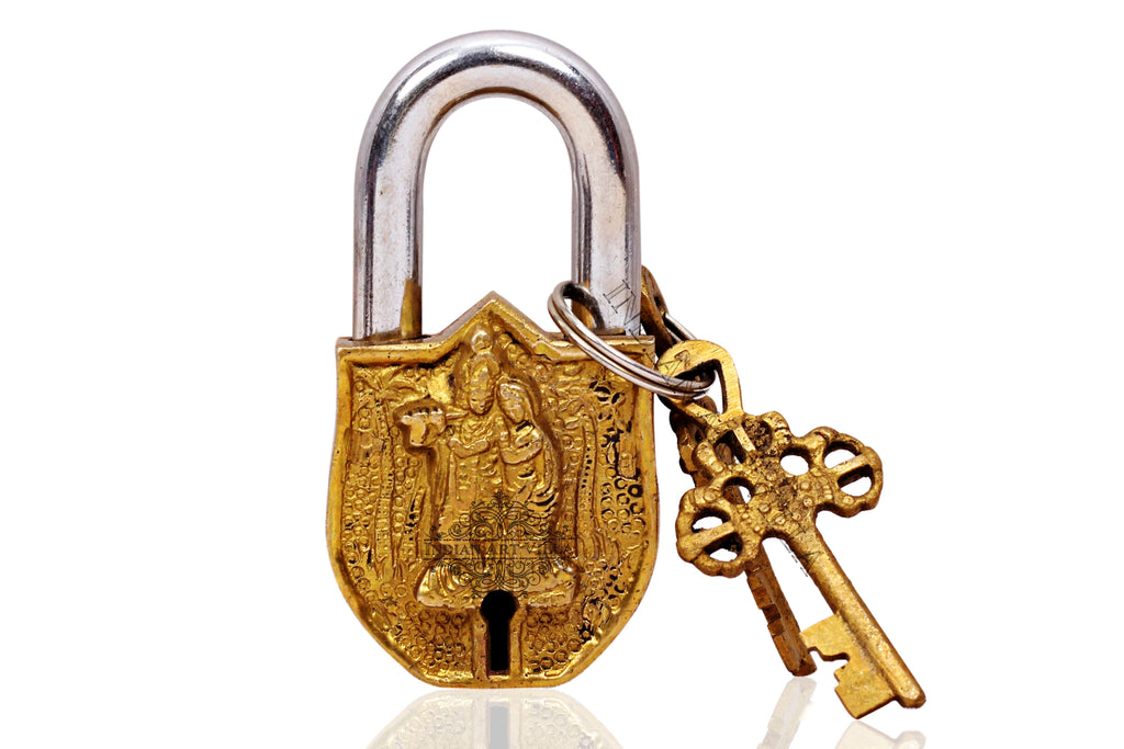 Brass Handmade Radha Krishna Design Lock With 2 Keys