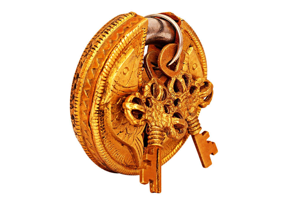 Brass Handmade Round Fish Design Lock With 2 Keys Designer Locks CC-1