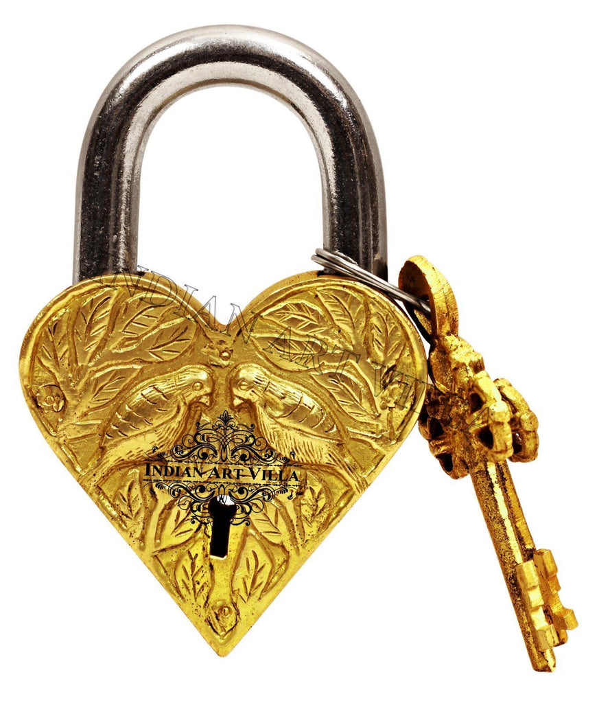 Brass Heart Shape Pair of Parrot Design Lock with 2 Keys with 2 keys