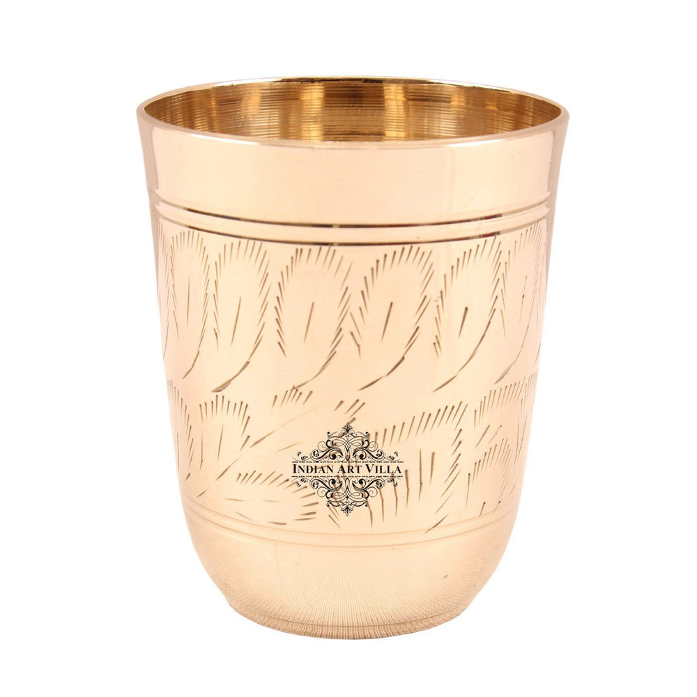 Brass Leaf Design Glass Tumbler 10 Oz
