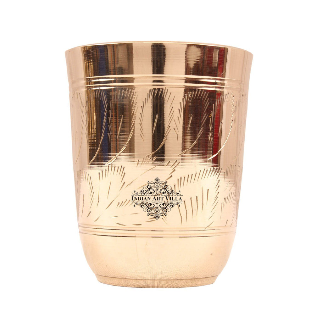 Brass Leaf Design Glass Tumbler 10 Oz Brass Tumblers Indian Art Villa