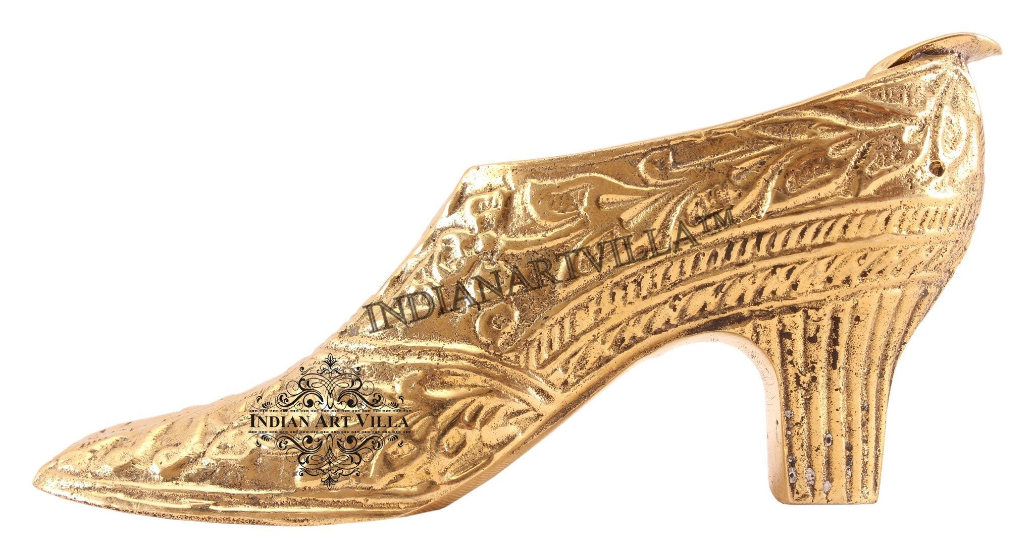 Brass Leaf Design High Heels Shoe Ashtray