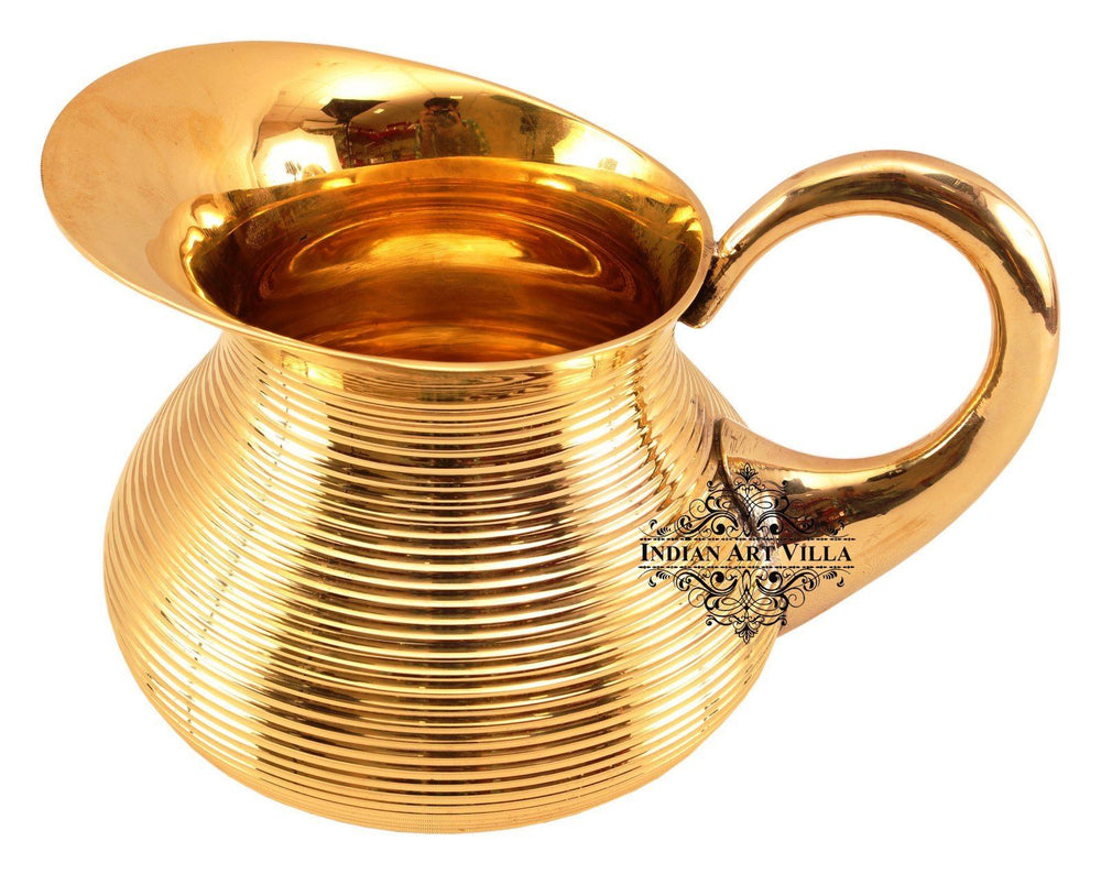 Brass Lining Designer Jug Pitcher 40 Oz Brass Jugs Indian Art Villa