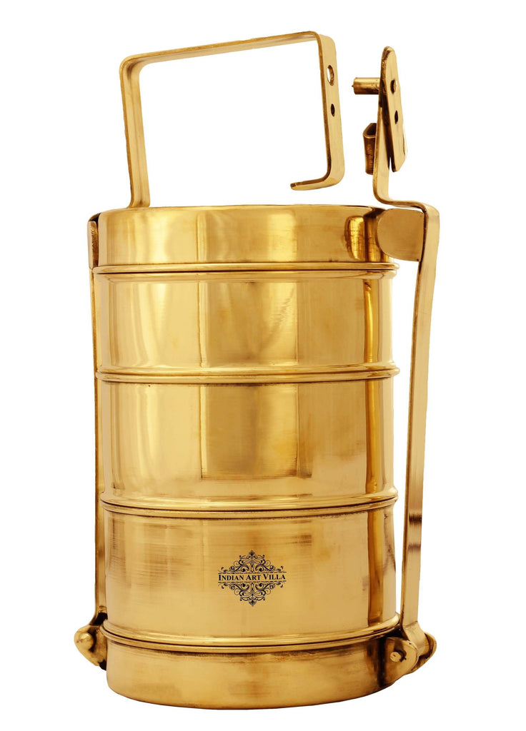 "Brass Lunch Box With Three Compartments- Height 11""Inch IAV-BR-1-190"