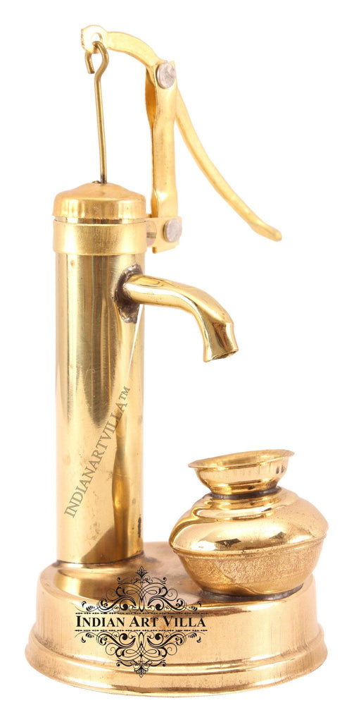 Brass Mini Working Hand Pump with Container Home Accent Indian Art Villa