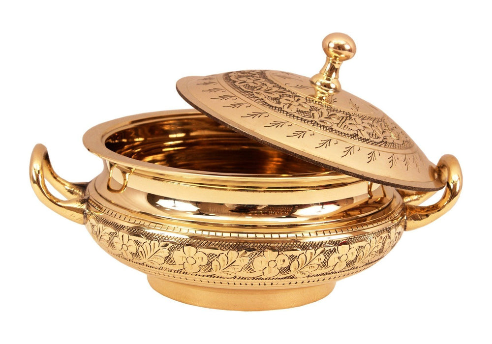Brass Mughlai Embossed Design Casserole with Lid Brass Casseroles Indian Art Villa