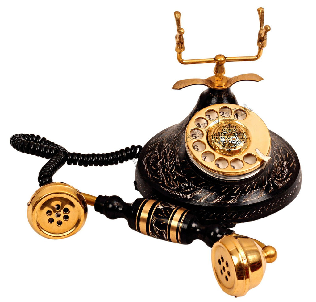 Brass Round Engraved Landline Phone Home Accent HR-1