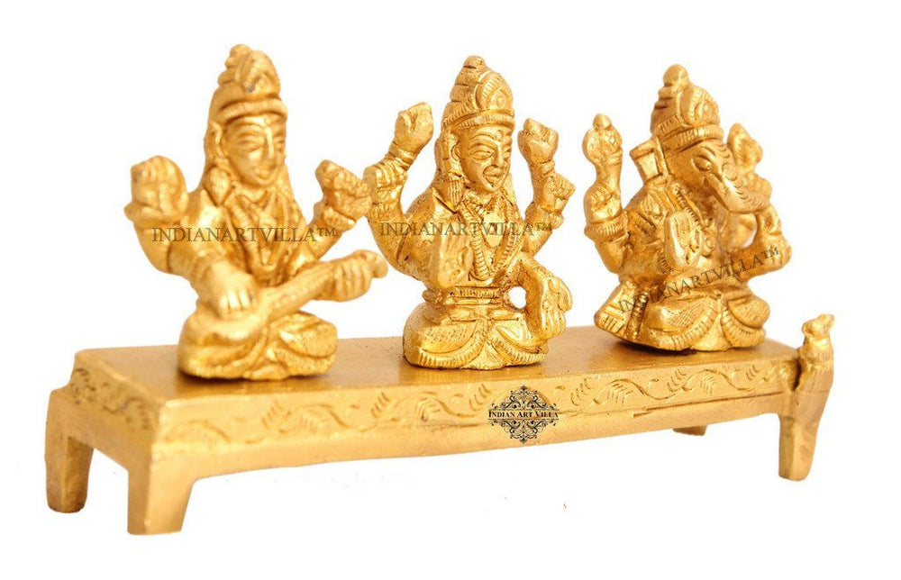 Brass Set of Ganesh Ji Laxmi Ji Saraswati Ji on Singhasan Figurines Indian Art Villa