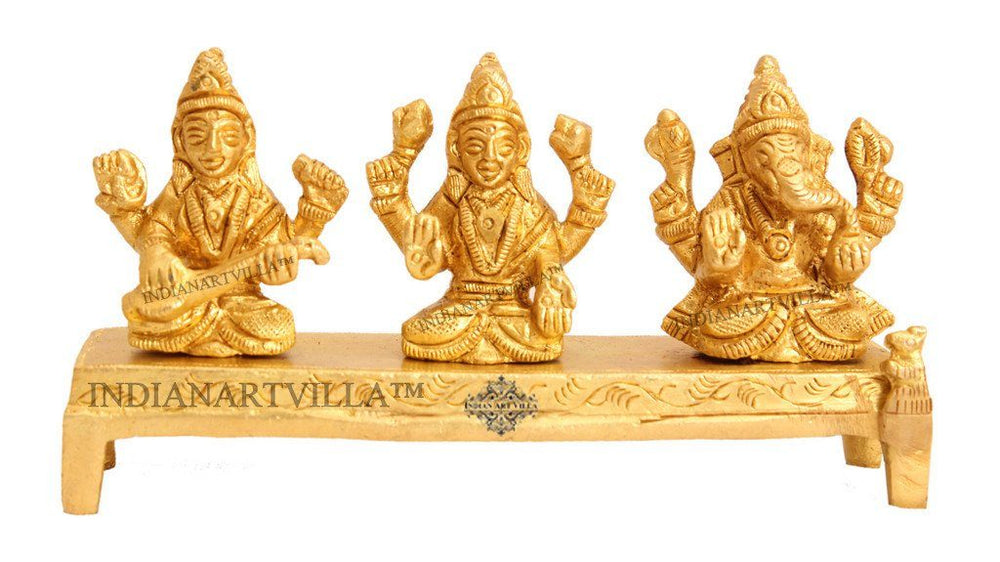 Brass Set of Ganesh Ji Laxmi Ji Saraswati Ji on Singhasan