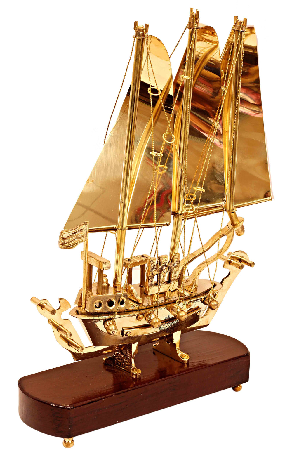 Brass Ship with Wooden base, Showpiece Item, Perfect for Home Decoration and Gifting Home Accent HR-8