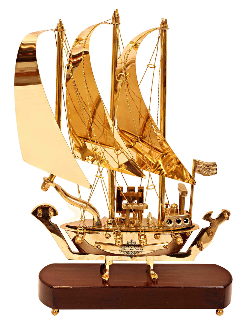 Brass Ship with Wooden base, Showpiece Item, Perfect for Home Decoration and Gifting