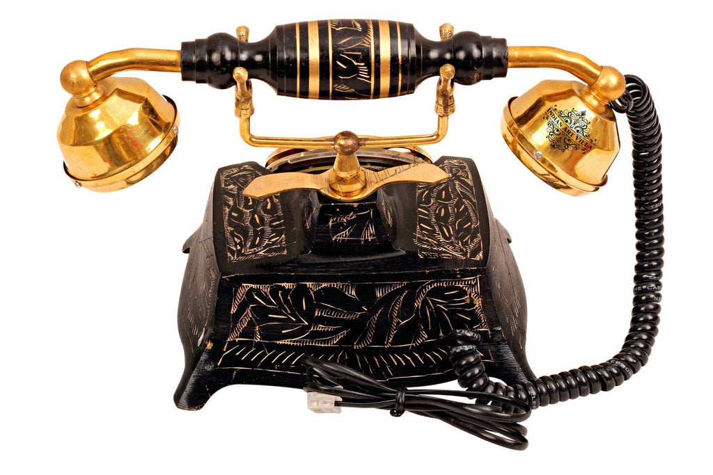 Brass Square Engraved Landline Phone Home Accent HR-1
