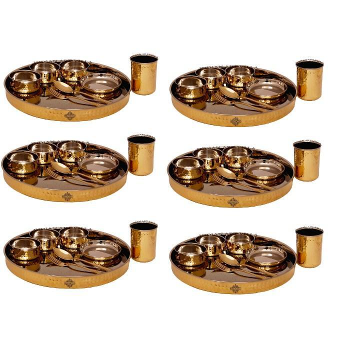 Brass Steel Hammered Design Dinner Set Of Dinner Set IAV-SCB-TW-378- 6 Set