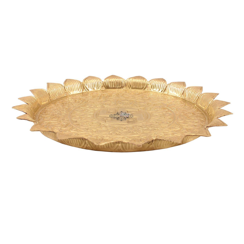Brass Swastik Design Sunflower Pooja Thali