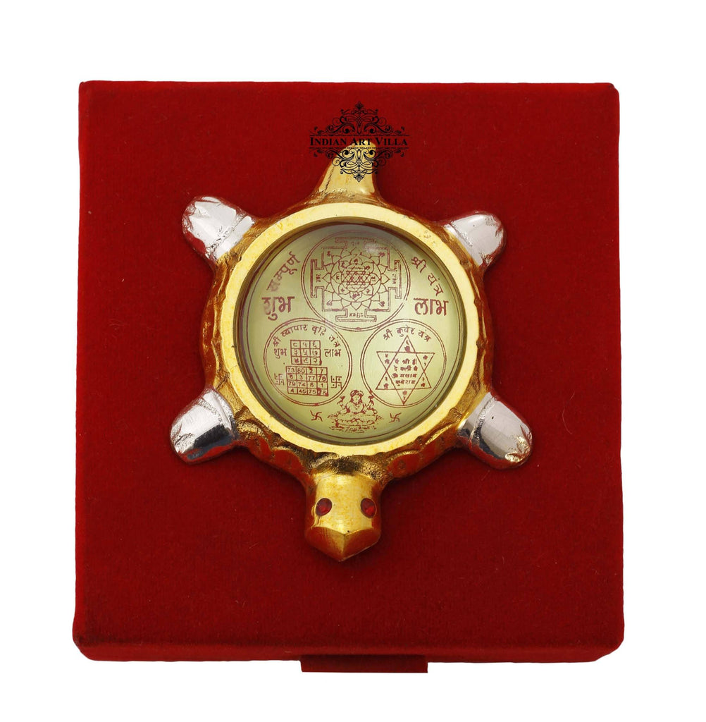 Brass Tortoise with Shree Yantra & Kuber Yantra On Back Home Accent IAV-SP-3-195