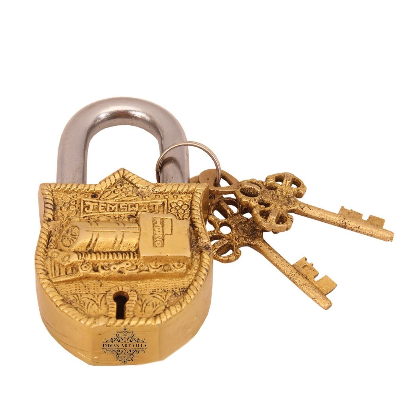 Brass Train Engine Design Lock with 2 Keys