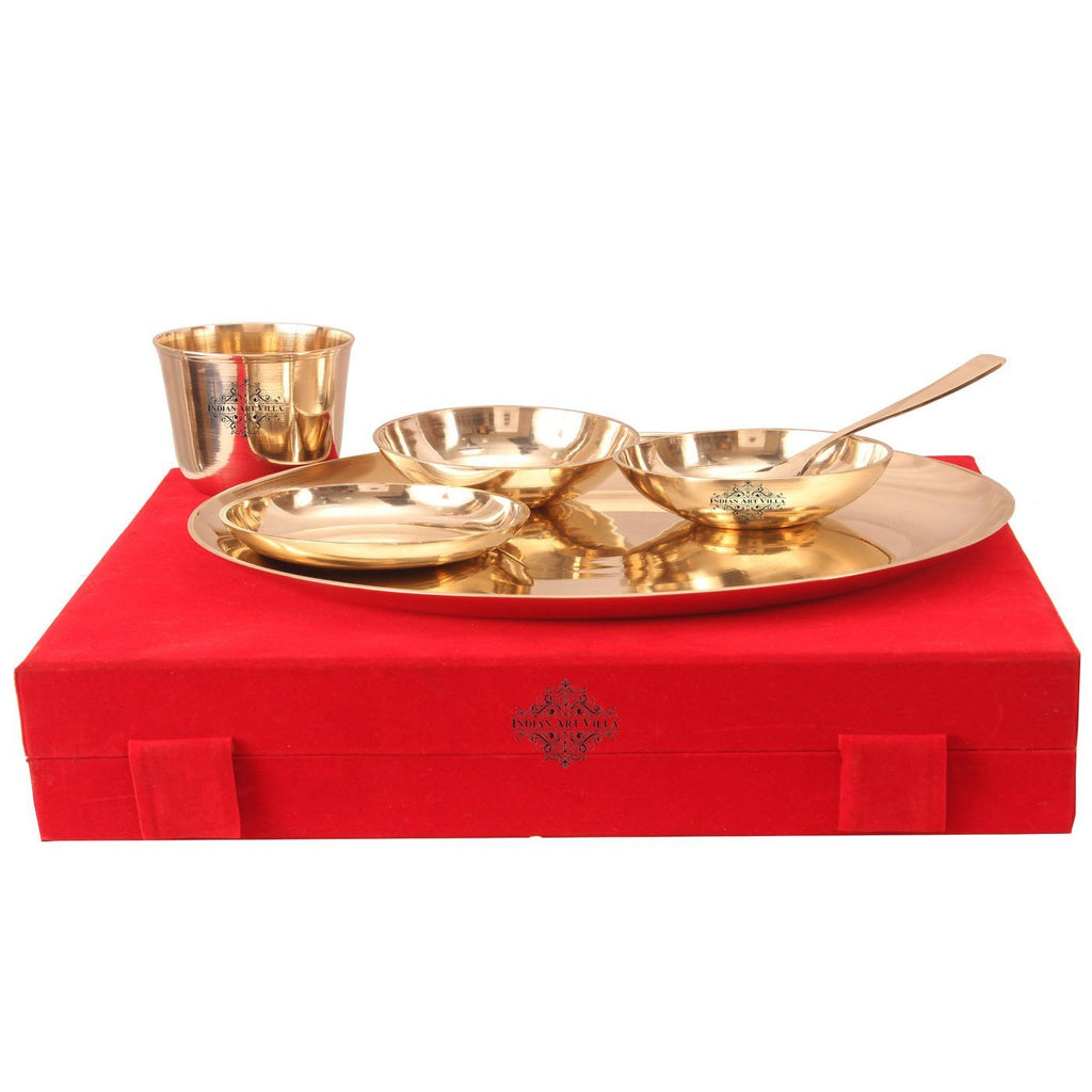 Bronze 6 Piece Thali Set with Red Velvet Box Bronze Dinner Sets K-1