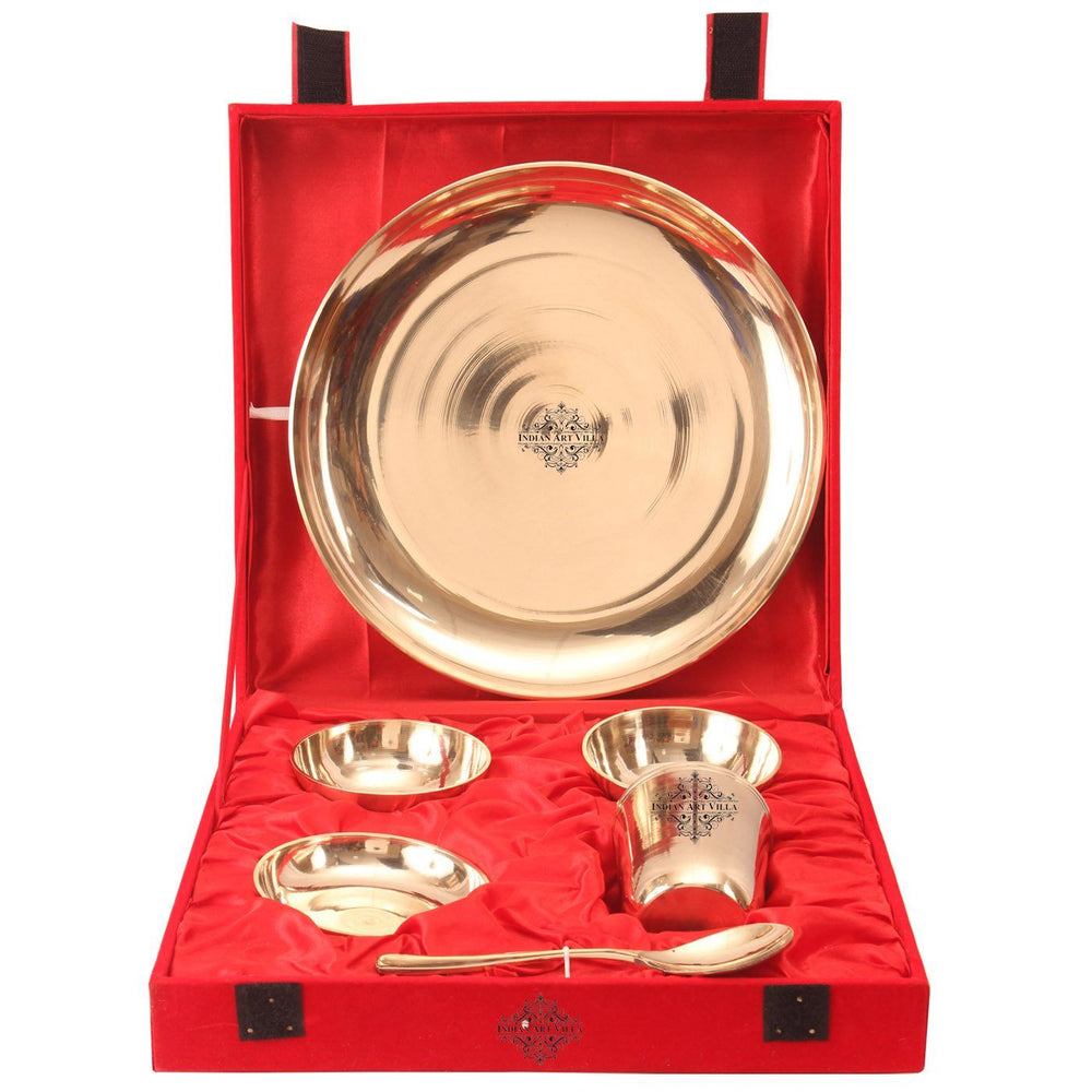 Bronze 6 Piece Thali Set with Red Velvet Box