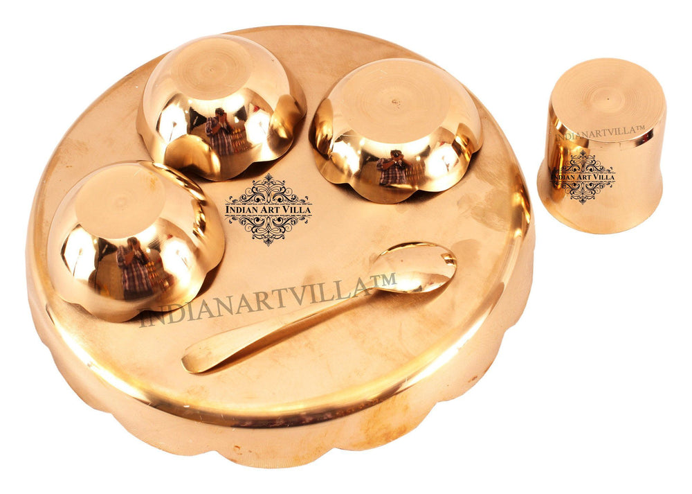 Bronze Designer 6 Piece Lotus Design Dinner Set Bronze Dinner Sets Indian Art Villa