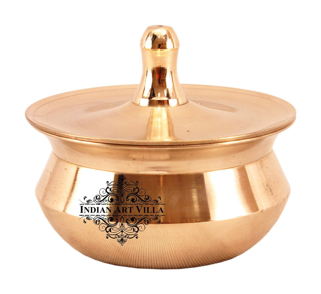 Bronze Kansa Utensil Plain Casserole with Lid : 15 Oz | 26 Oz | 34 Oz | 43 Oz | 81 Oz