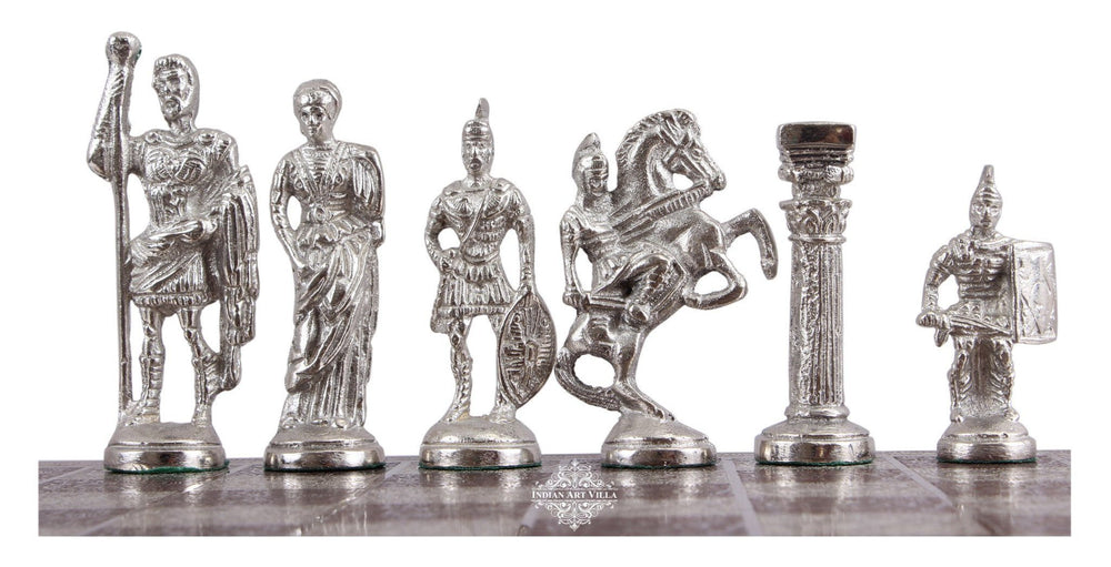 Collectible Brass Chess with Brown and Silver Greek Poseidon Pieces Home Accent Indian Art Villa