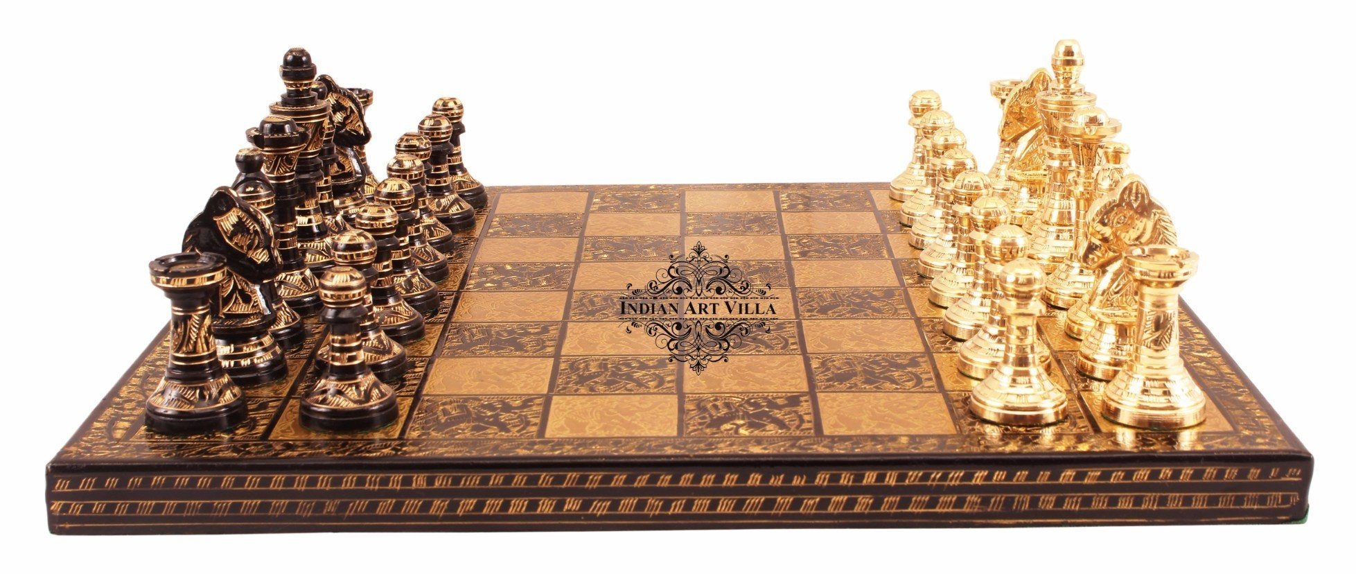 Collectible Brass Chess with Pieces (Coffee Brown and Golden)