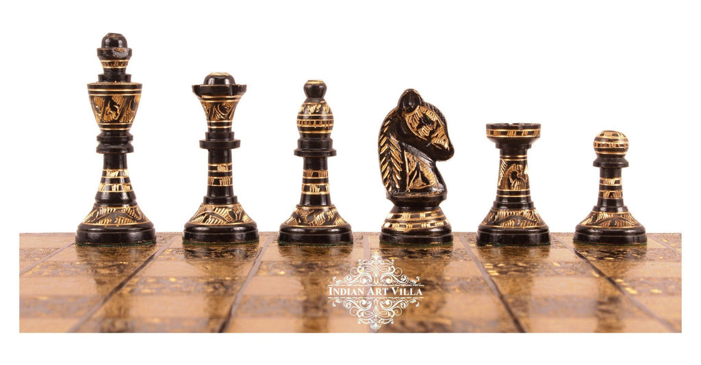 Collectible Brass Chess with Pieces (Coffee Brown and Golden) Home Accent Indian Art Villa