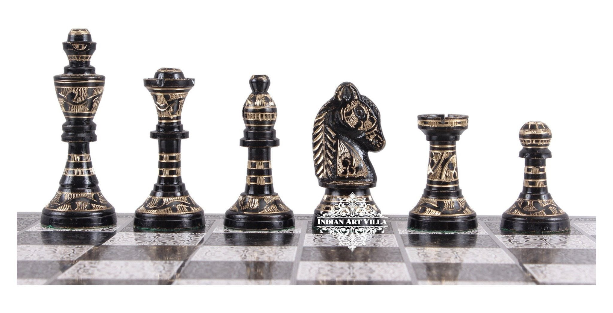 Collectible Brass Chess with Silver & Black Pieces