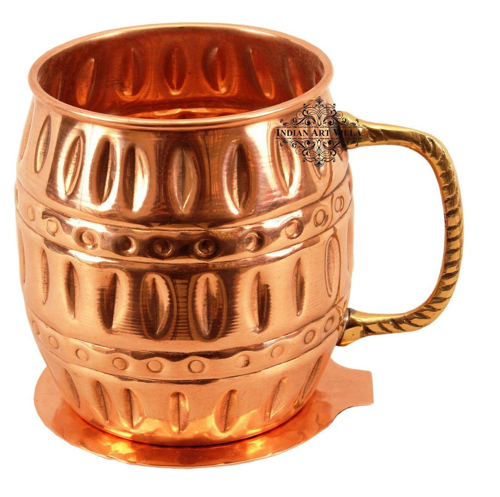 Copper Beer Mug Cup with Coaster | 530 ML