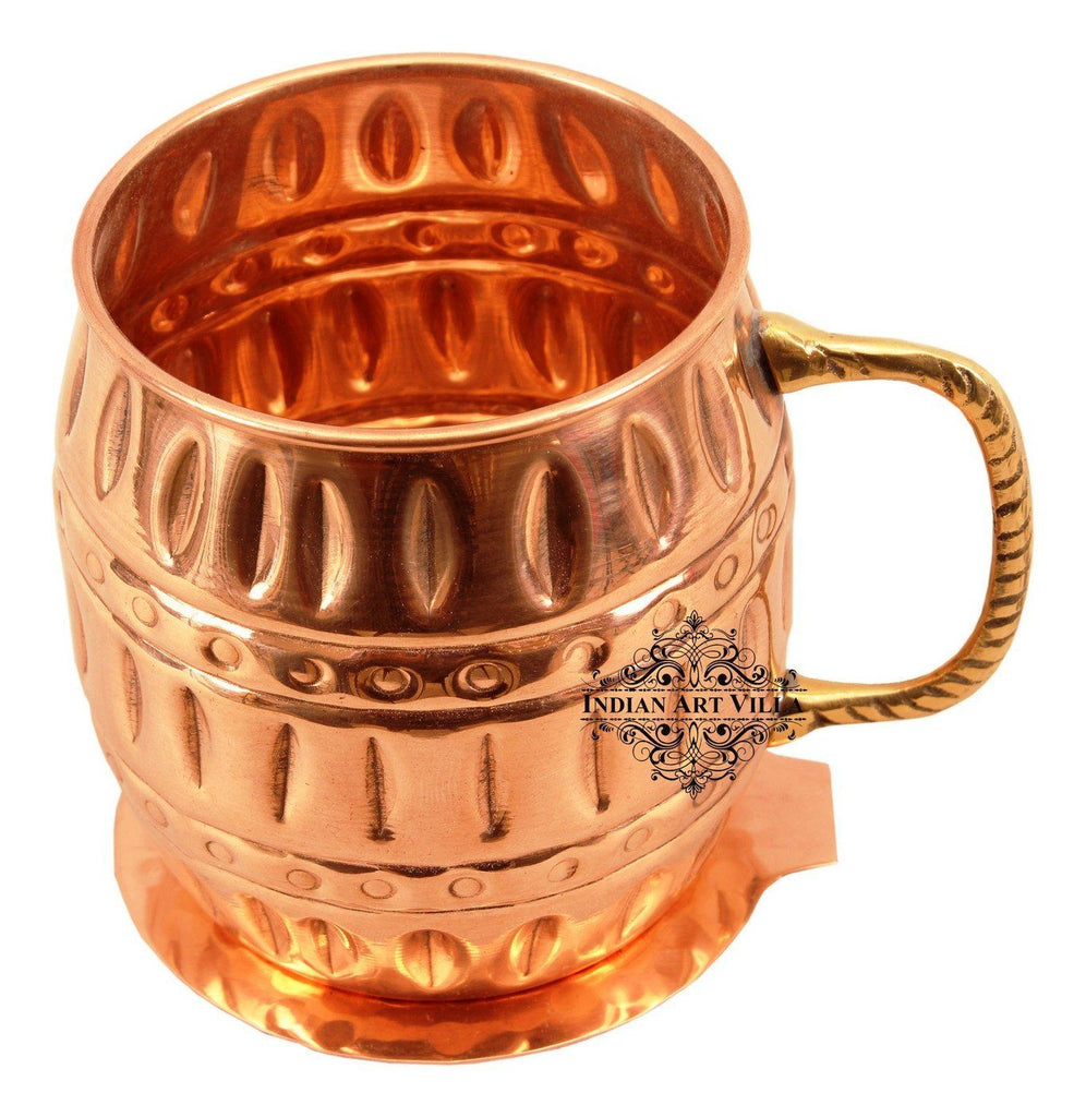 Copper Beer Mug Cup with Coaster | 530 ML Copper Ware Bar Ware Combo Indian Art Villa