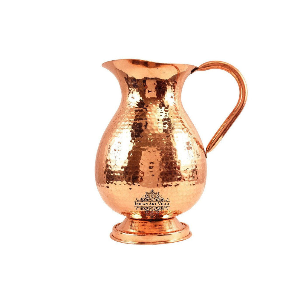 Copper Big Fat Hammered Jug Pitcher with Bottom 77 Oz