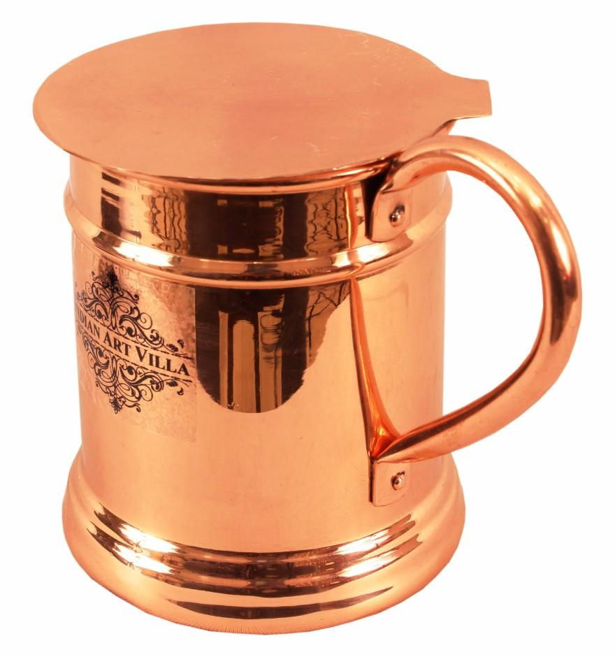 Copper Big Mug Cup 20 Oz with Coaster Coaster Beer Mugs Indian Art Villa
