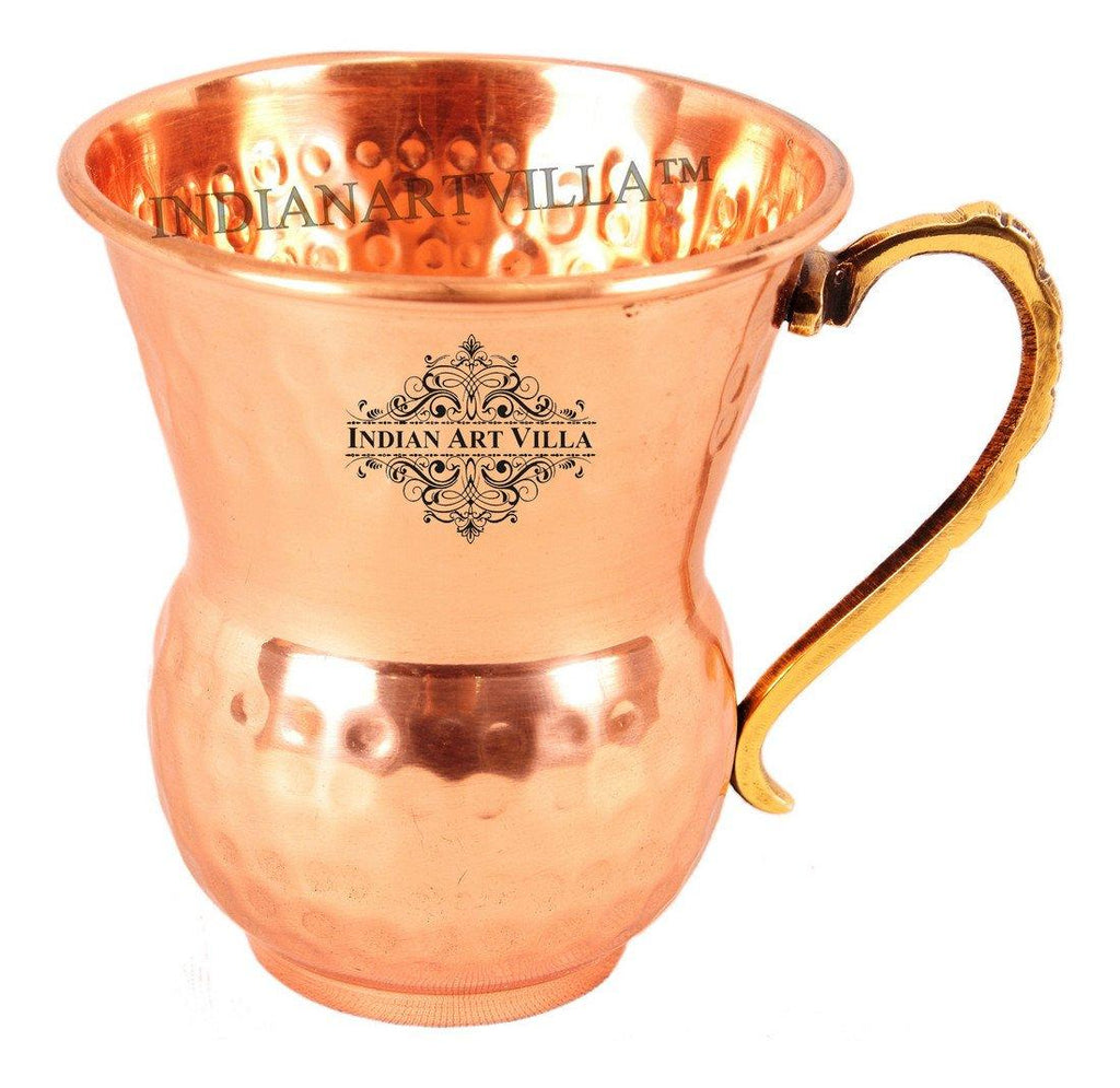 Copper Big Top Cup Shape Glass Mug with Brass Handle Copper Tumblers Indian Art Villa