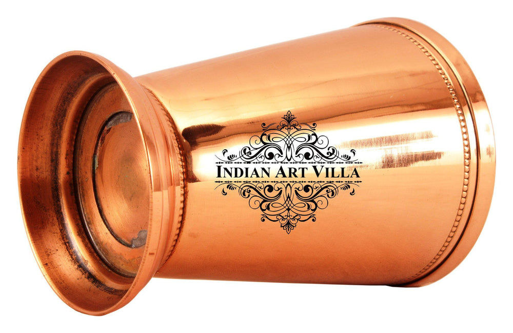 Copper Big Top Glass Tumbler Cup with 2 Designer Rings & Bottom 10 Oz Copper Tumblers Indian Art Villa