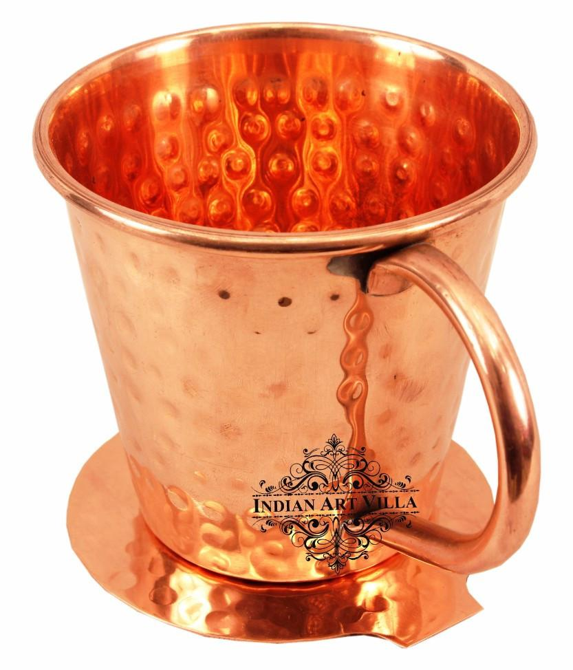 Copper Big Top Hammered Mug Cup 13 Oz with Coaster