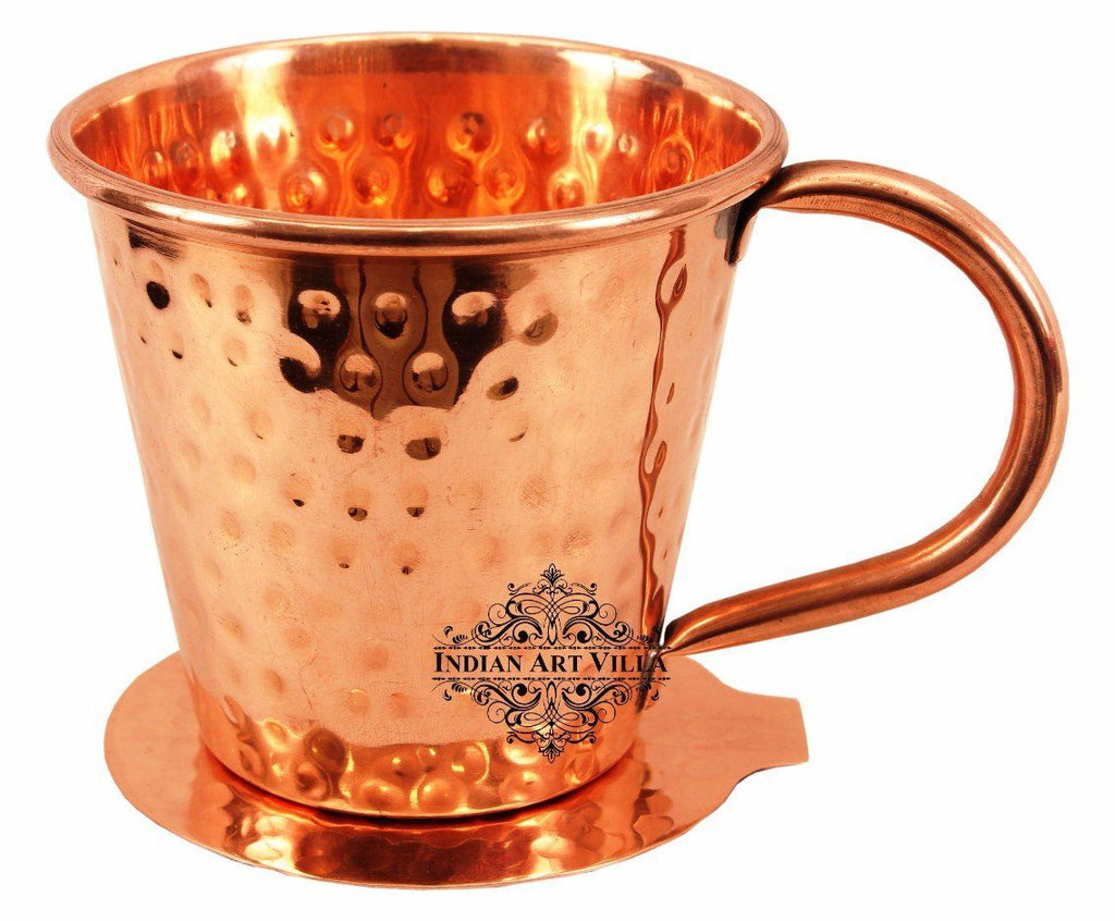 Copper Big Top Hammered Mug Cup 13 Oz with Coaster Coaster Beer Mugs Indian Art Villa